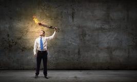 Человек с факелом Стоковые Фотографии RF
