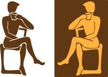 Человек с чашкой кофе (тройник) Стоковое Фото