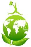 Человек с чемоданом над землей Листья планеты и зеленого цвета Путешествия иллюстрация вектора