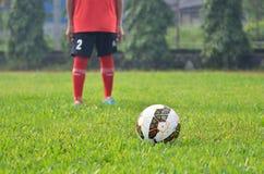 Человек с шариком на поле Стоковые Фото