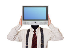Человек с экраном tv для головы Стоковое Фото
