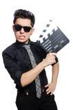 Человек с clapperboard кино Стоковые Изображения RF