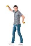 Человек с dumbells Стоковые Изображения RF