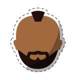 человек темной кожи бородатый с изображением значка mohawk Стоковые Изображения RF