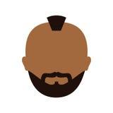 человек темной кожи бородатый с изображением значка mohawk Стоковые Изображения
