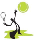 Человек тени тенниса Стоковая Фотография