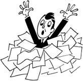 Человек тонуть в бумагах иллюстрация вектора