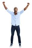 Человек торжества приветственного восклицания Стоковое Фото