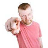 Человек указывает его указательный палец на камеру стоковые фото
