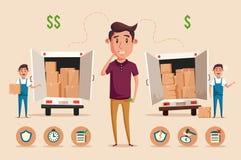 Человек думая выбора Деньги для тратить Иллюстрация шаржа Vectro Стоковое фото RF