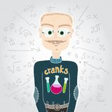 Человек ученого в свитере и стеклах учитель формулы математически Стоковая Фотография