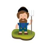 Человек фермера изолированный на белизне Бесплатная Иллюстрация