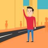Человек хочет уловить такси Ждать автомобиль бесплатная иллюстрация