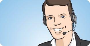 Человек центра телефонного обслуживания с усмехаться шлемофона иллюстрация вектора