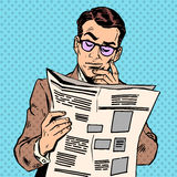 Человек читает газета новостей иллюстрация штока