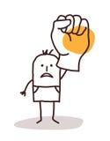 Человек шаржа говоря НЕТ с поднятым кулаком Стоковое Фото