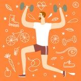 Человек шаржа делая тренировку с весами Стоковые Изображения