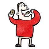 человек шаржа жадный есть высококалорийную вредную пищу Стоковые Изображения RF