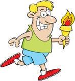 Человек шаржа идущий с факелом Стоковые Изображения RF