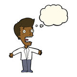 человек шаржа кричащий с пузырем мысли Стоковое фото RF