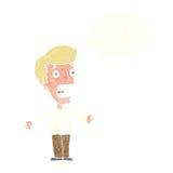 человек шаржа кричащий с пузырем мысли Стоковые Фотографии RF