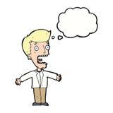 человек шаржа кричащий с пузырем мысли Стоковые Изображения RF
