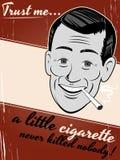 Человек шаржа курить сигареты Стоковое Фото
