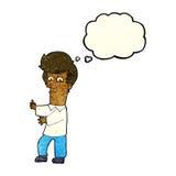 человек шаржа показывать одичало с пузырем мысли бесплатная иллюстрация