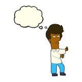 человек шаржа показывать одичало с пузырем мысли иллюстрация штока