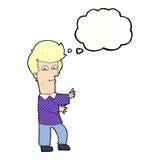 человек шаржа показывать одичало с пузырем мысли иллюстрация вектора