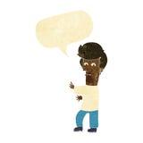 человек шаржа показывать одичало с пузырем речи иллюстрация вектора