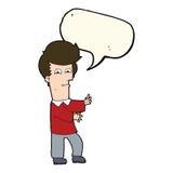 человек шаржа показывать одичало с пузырем речи иллюстрация штока