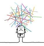 Человек шаржа потерянный в перегруженные сети Стоковое фото RF