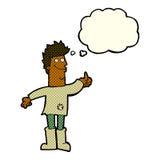 человек шаржа положительный думая в ветошах с пузырем мысли Стоковые Фотографии RF