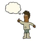 человек шаржа положительный думая в ветошах с пузырем мысли Стоковое Фото
