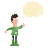 человек шаржа положительный думая в ветошах с пузырем мысли Стоковая Фотография RF