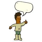 человек шаржа положительный думая в ветошах с пузырем речи Стоковое Фото