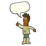 человек шаржа положительный думая в ветошах с пузырем речи Стоковое Изображение RF