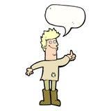 человек шаржа положительный думая в ветошах с пузырем речи Стоковые Фото