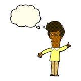 человек шаржа суживая глаза с пузырем мысли Стоковая Фотография RF
