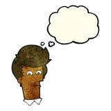 человек шаржа суживая глаза с пузырем мысли Стоковое Изображение