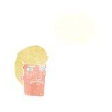 человек шаржа суживая глаза с пузырем мысли Стоковые Фото