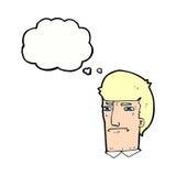 человек шаржа суживая глаза с пузырем мысли Стоковые Изображения RF
