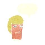 человек шаржа суживая глаза с пузырем речи Стоковое Изображение