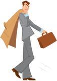 Человек шаржа с коричневый идти портфеля Стоковые Изображения RF