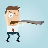 Человек шаржа с оружием Стоковое Изображение RF