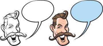 Человек шаржа усмехаясь с большой стороной усиков иллюстрация штока
