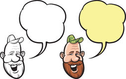 Человек шаржа усмехаясь с красной стороной бороды иллюстрация вектора