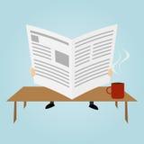 Человек шаржа читает газету бесплатная иллюстрация