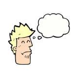 человек шаржа чувствуя больной с пузырем мысли Стоковое фото RF